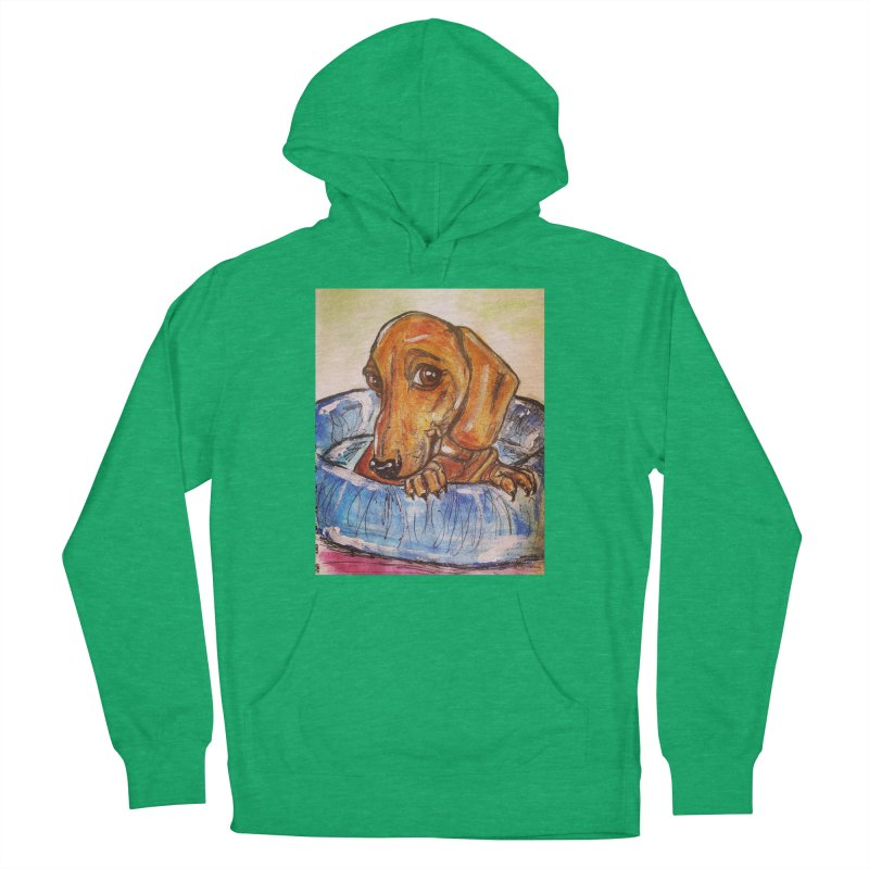 Dachshund  Puppy Women's French Terry Pullover Hoody by AlmaT's Artist Shop
