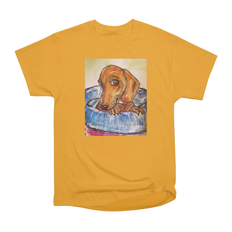 Dachshund  Puppy Women's Heavyweight Unisex T-Shirt by AlmaT's Artist Shop