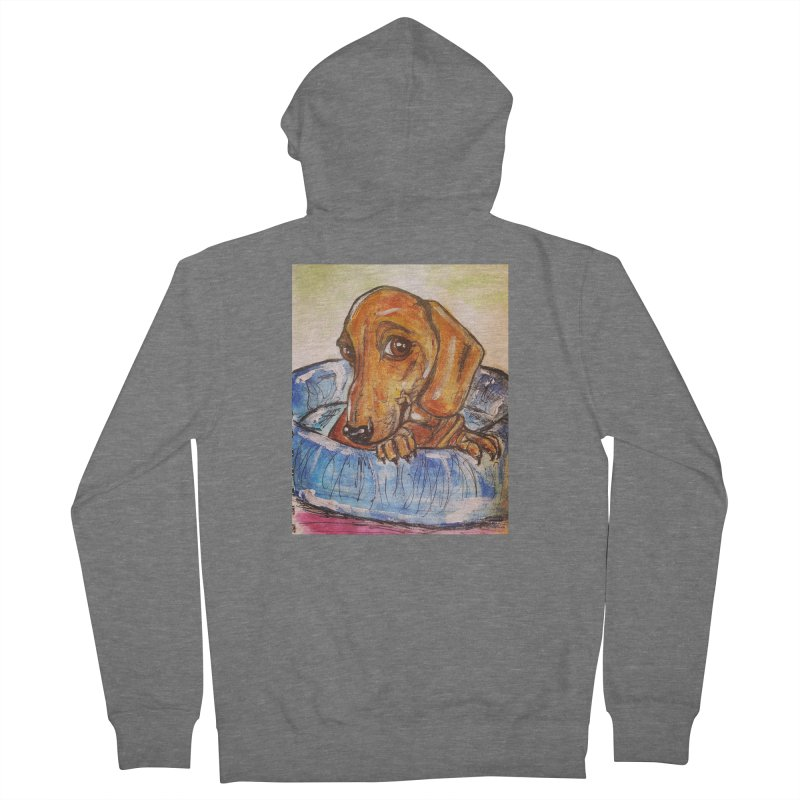 Dachshund  Puppy Women's French Terry Zip-Up Hoody by AlmaT's Artist Shop