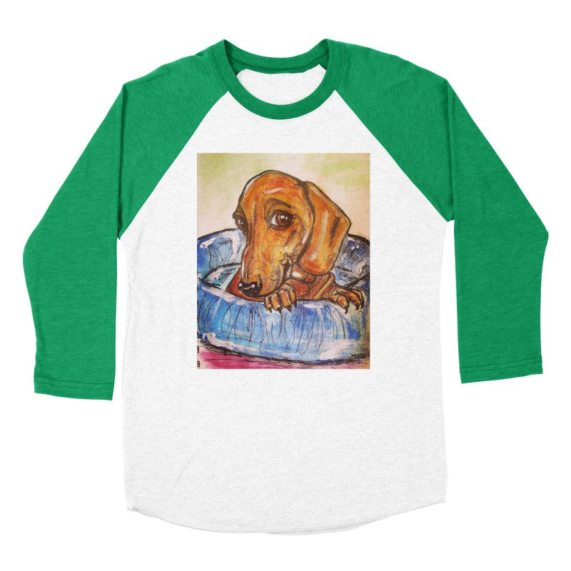Dachshund  Puppy Women's Baseball Triblend Longsleeve T-Shirt by AlmaT's Artist Shop