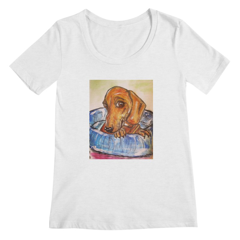 Dachshund  Puppy Women's Regular Scoop Neck by AlmaT's Artist Shop