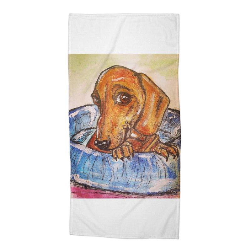 Dachshund  Puppy Accessories Beach Towel by AlmaT's Artist Shop