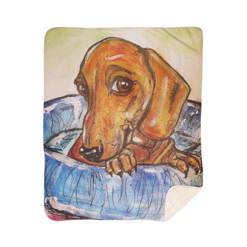 Dachshund  Puppy Home Sherpa Blanket Blanket by AlmaT's Artist Shop