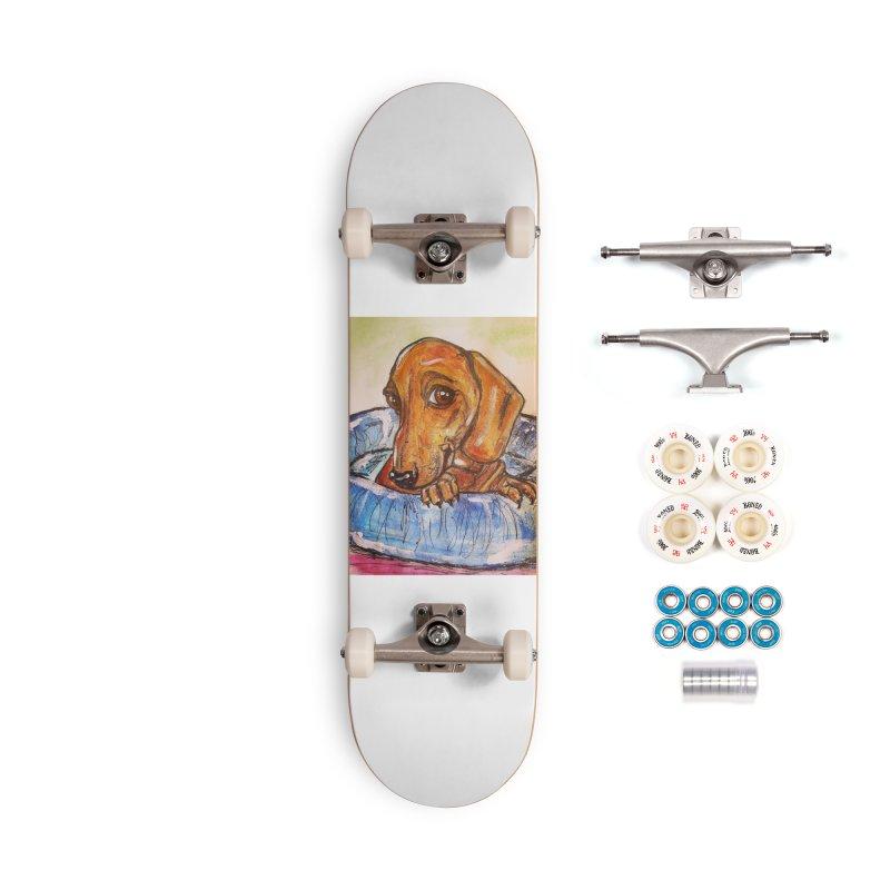 Dachshund  Puppy Accessories Complete - Premium Skateboard by AlmaT's Artist Shop