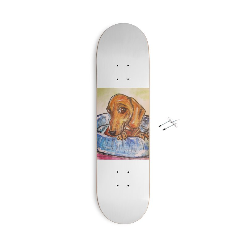 Dachshund  Puppy Accessories With Hanging Hardware Skateboard by AlmaT's Artist Shop