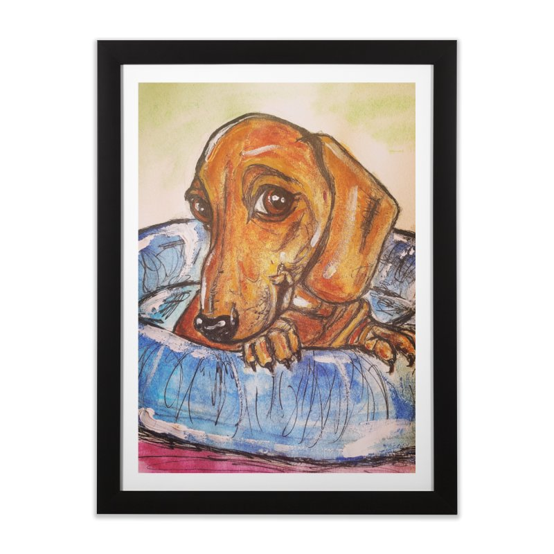Dachshund  Puppy Home Framed Fine Art Print by AlmaT's Artist Shop