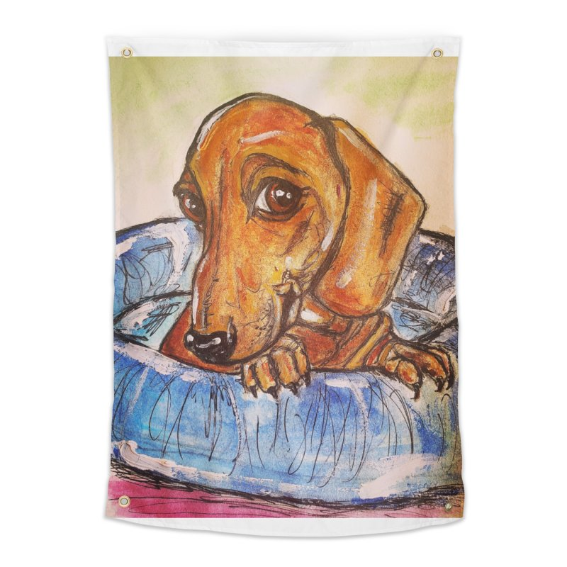 Dachshund  Puppy Home Tapestry by AlmaT's Artist Shop