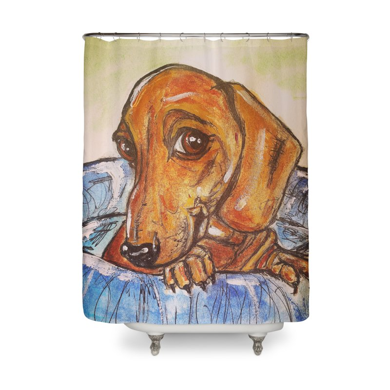 Dachshund  Puppy Home Shower Curtain by AlmaT's Artist Shop