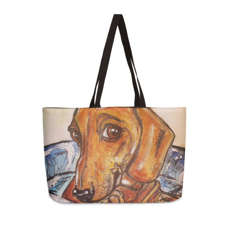 Dachshund  Puppy Accessories Weekender Bag Bag by AlmaT's Artist Shop