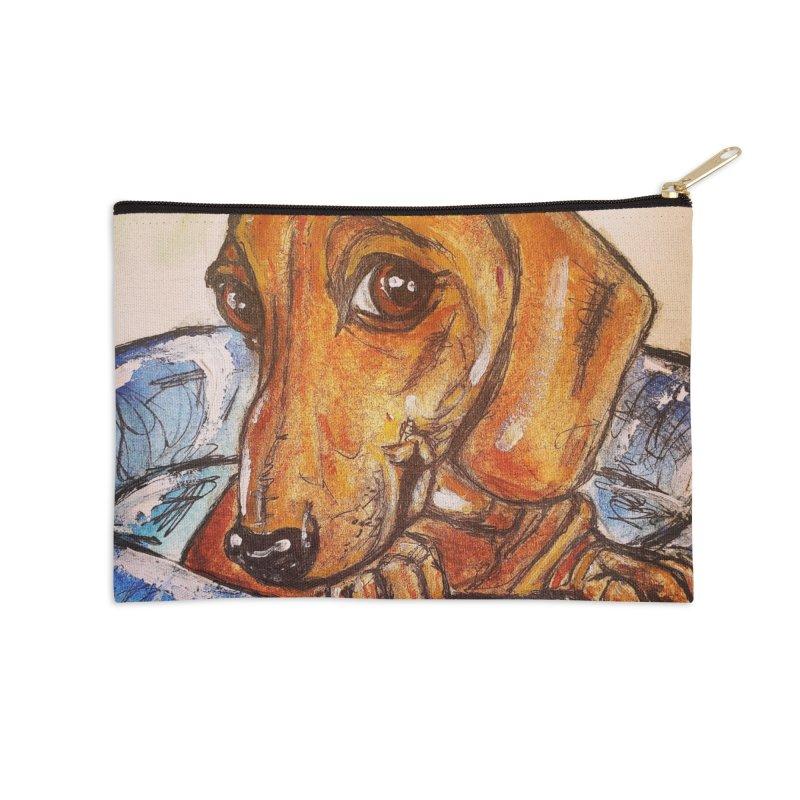 Dachshund  Puppy Accessories Zip Pouch by AlmaT's Artist Shop