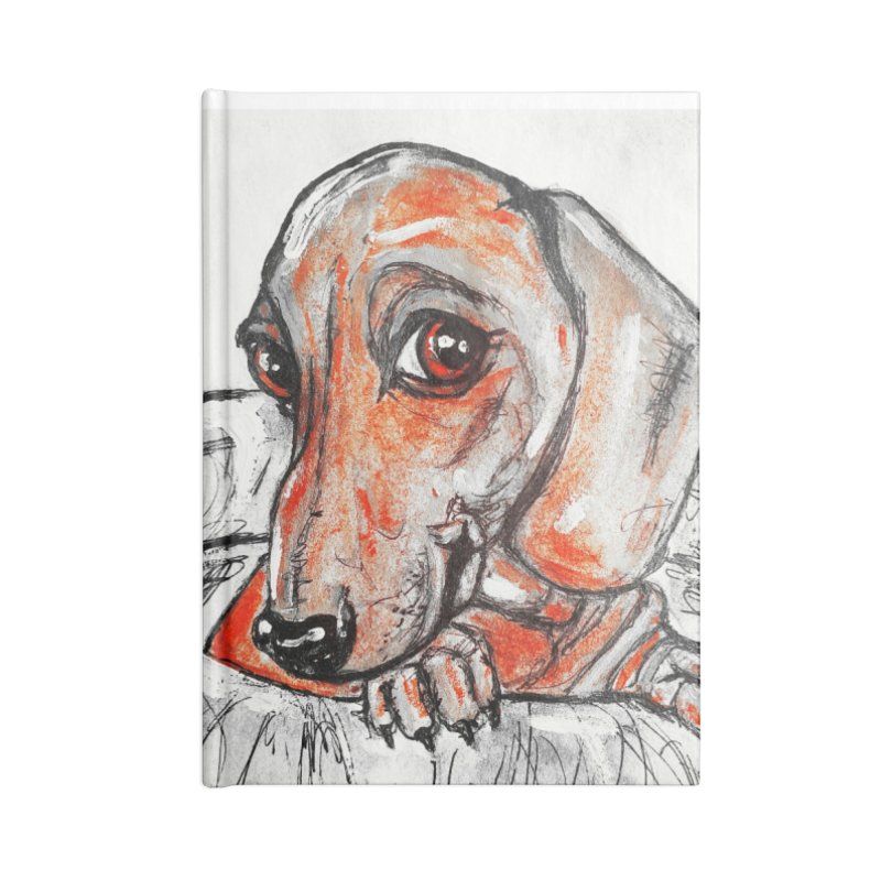 Dachshund  Puppy- Version 2 Accessories Lined Journal Notebook by AlmaT's Artist Shop