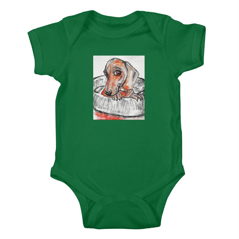 Dachshund  Puppy- Version 2 Kids Baby Bodysuit by AlmaT's Artist Shop