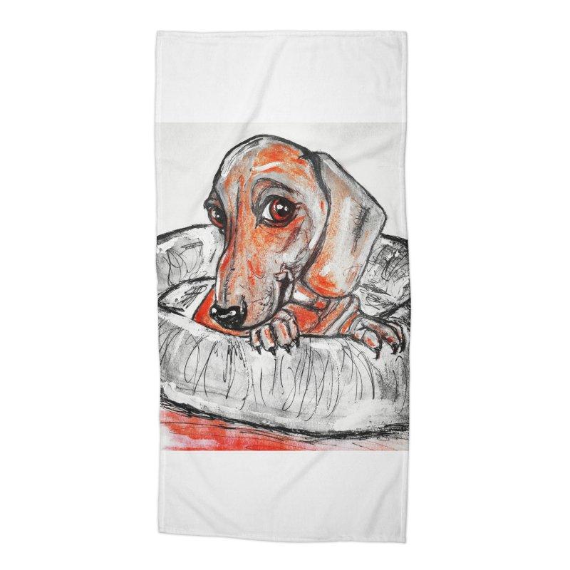 Dachshund  Puppy- Version 2 Accessories Beach Towel by AlmaT's Artist Shop