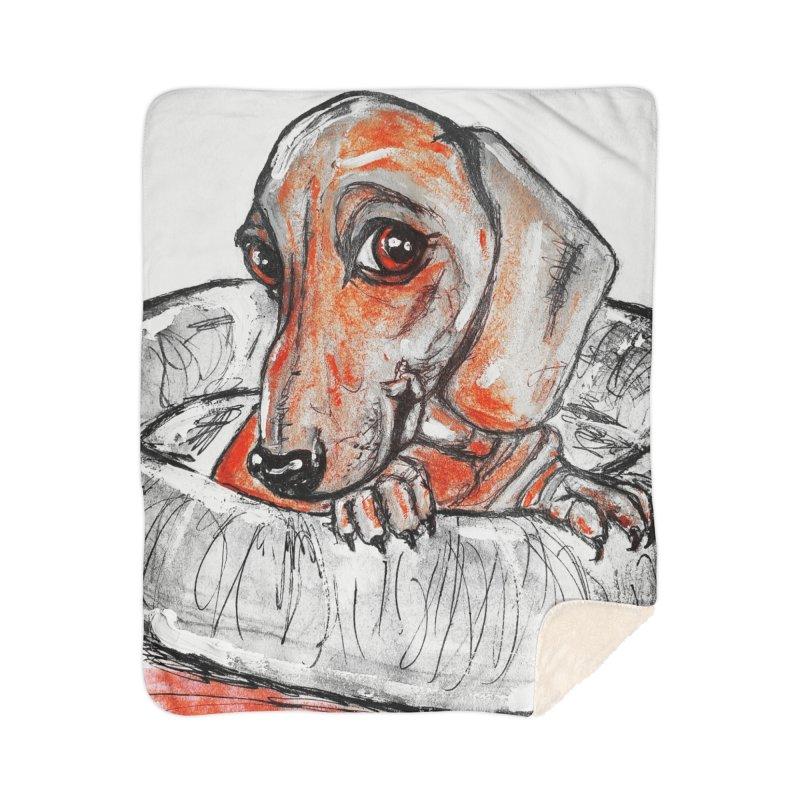 Dachshund  Puppy- Version 2 Home Sherpa Blanket Blanket by AlmaT's Artist Shop