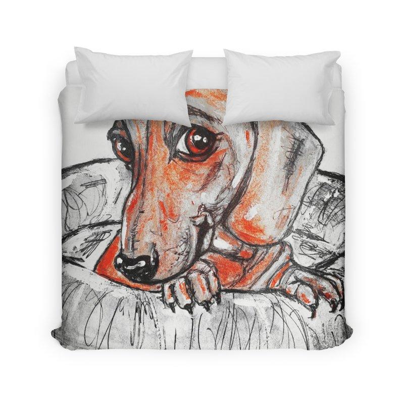 Dachshund  Puppy- Version 2 Home Duvet by AlmaT's Artist Shop