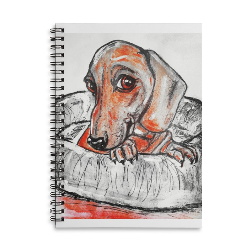 Dachshund  Puppy- Version 2 Accessories Lined Spiral Notebook by AlmaT's Artist Shop