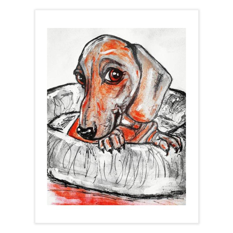Dachshund  Puppy- Version 2 Home Fine Art Print by AlmaT's Artist Shop
