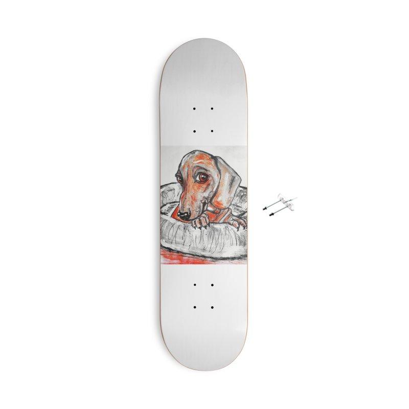 Dachshund  Puppy- Version 2 Accessories With Hanging Hardware Skateboard by AlmaT's Artist Shop