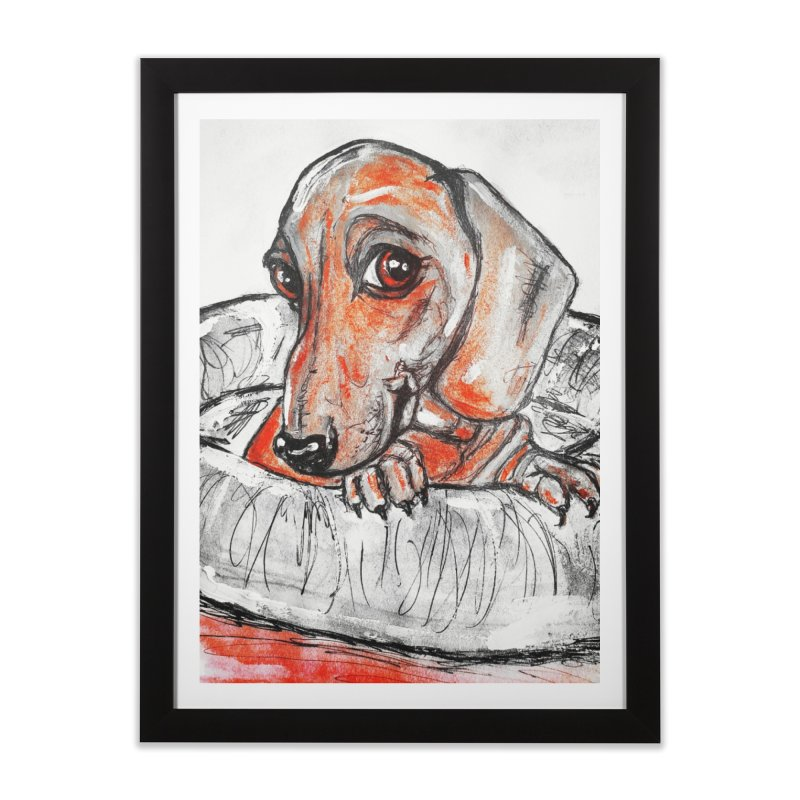 Dachshund  Puppy- Version 2 Home Framed Fine Art Print by AlmaT's Artist Shop