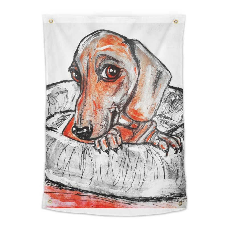 Dachshund  Puppy- Version 2 Home Tapestry by AlmaT's Artist Shop