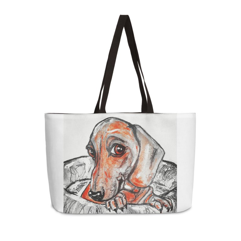Dachshund  Puppy- Version 2 Accessories Weekender Bag Bag by AlmaT's Artist Shop