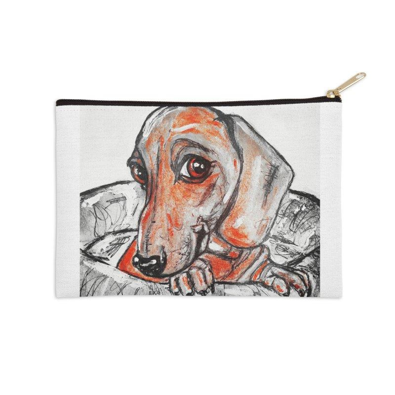 Dachshund  Puppy- Version 2 Accessories Zip Pouch by AlmaT's Artist Shop