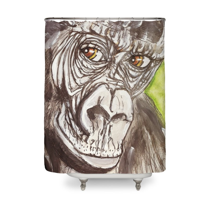 Gorilla Home Shower Curtain by AlmaT's Artist Shop