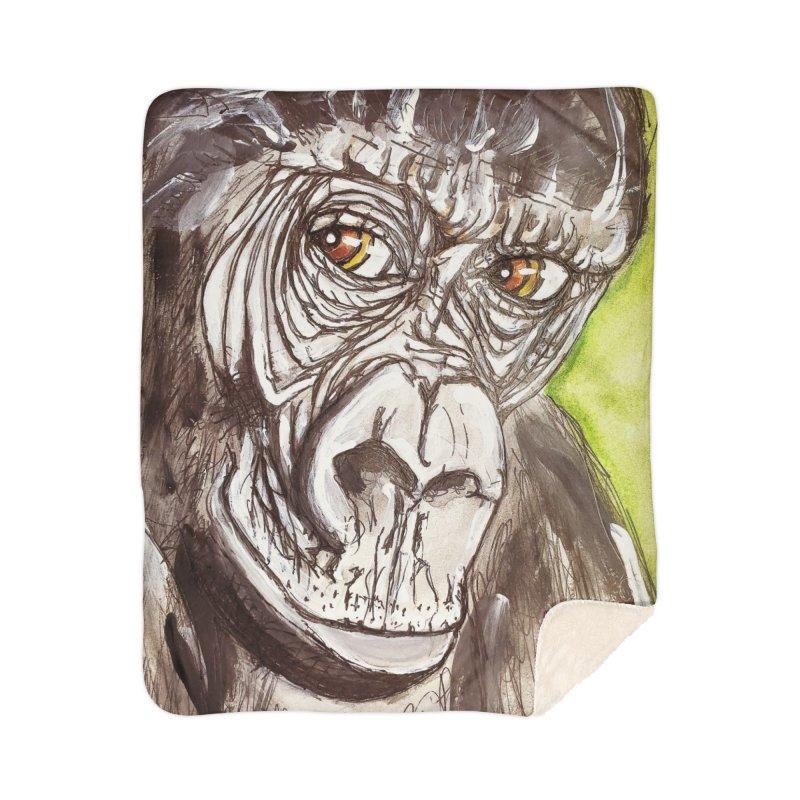 Gorilla Home Sherpa Blanket Blanket by AlmaT's Artist Shop