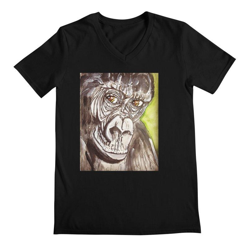 Gorilla Men's Regular V-Neck by AlmaT's Artist Shop