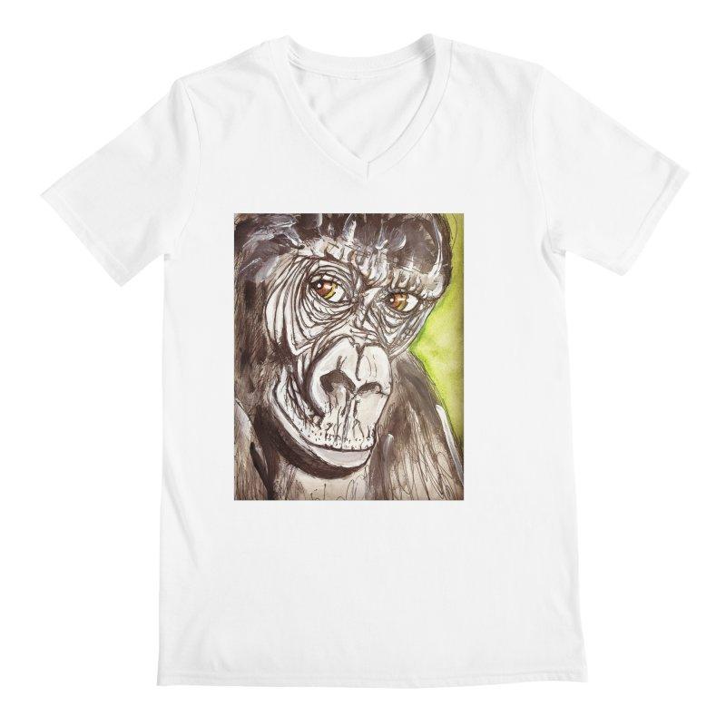 Gorilla Men's V-Neck by AlmaT's Artist Shop