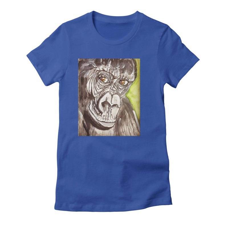 Gorilla Women's Fitted T-Shirt by AlmaT's Artist Shop