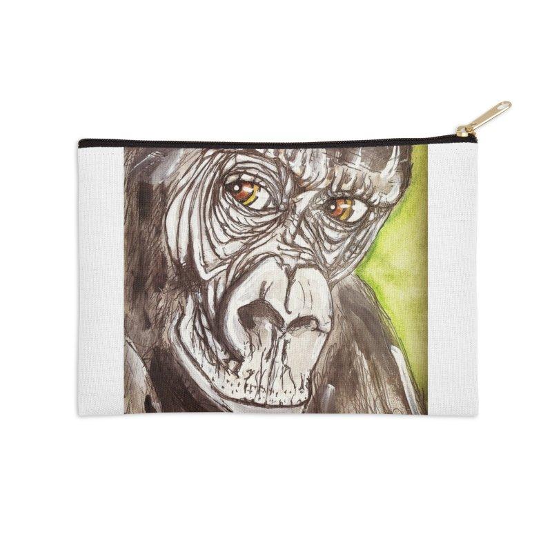 Gorilla Accessories Zip Pouch by AlmaT's Artist Shop