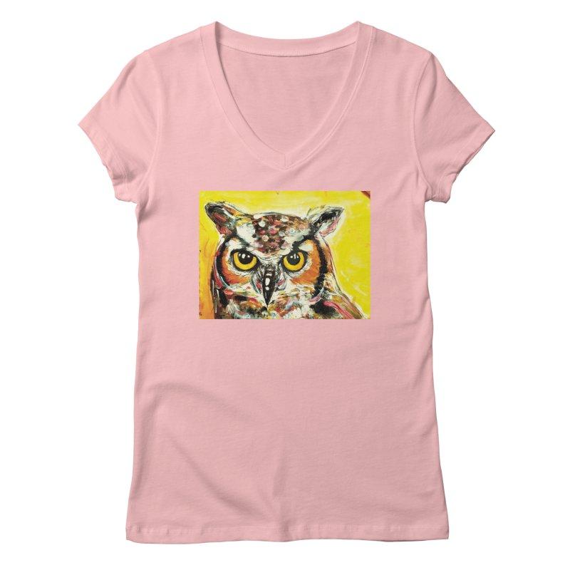 It's Owl Time! Women's Regular V-Neck by AlmaT's Artist Shop