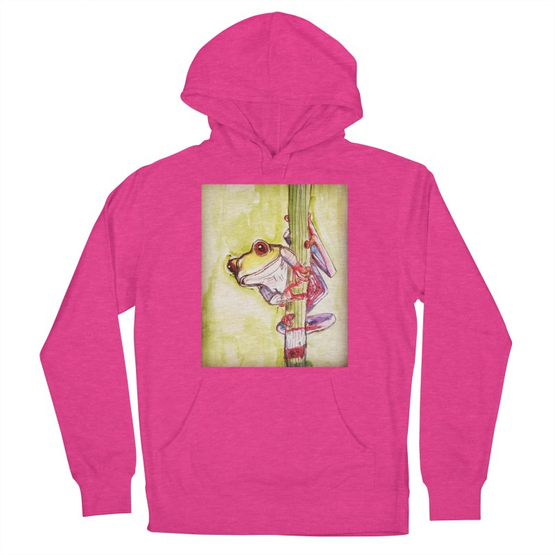 Red-eyed tree frog Women's French Terry Pullover Hoody by AlmaT's Artist Shop