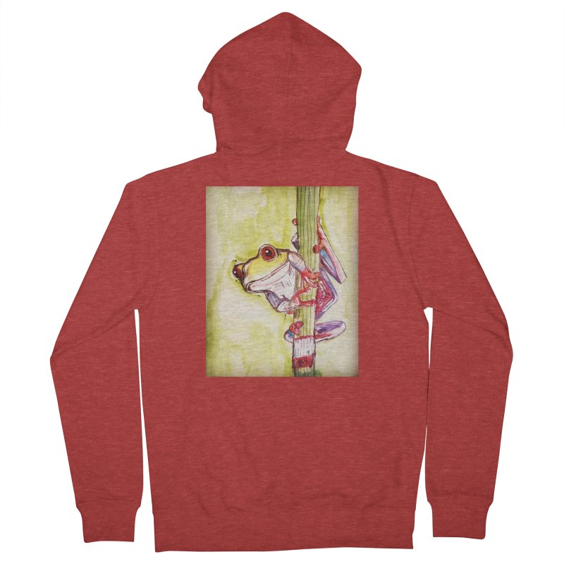 Red-eyed tree frog Women's French Terry Zip-Up Hoody by AlmaT's Artist Shop