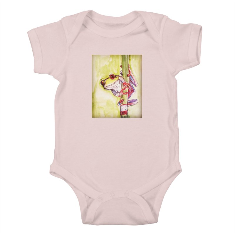Red-eyed tree frog Kids Baby Bodysuit by AlmaT's Artist Shop