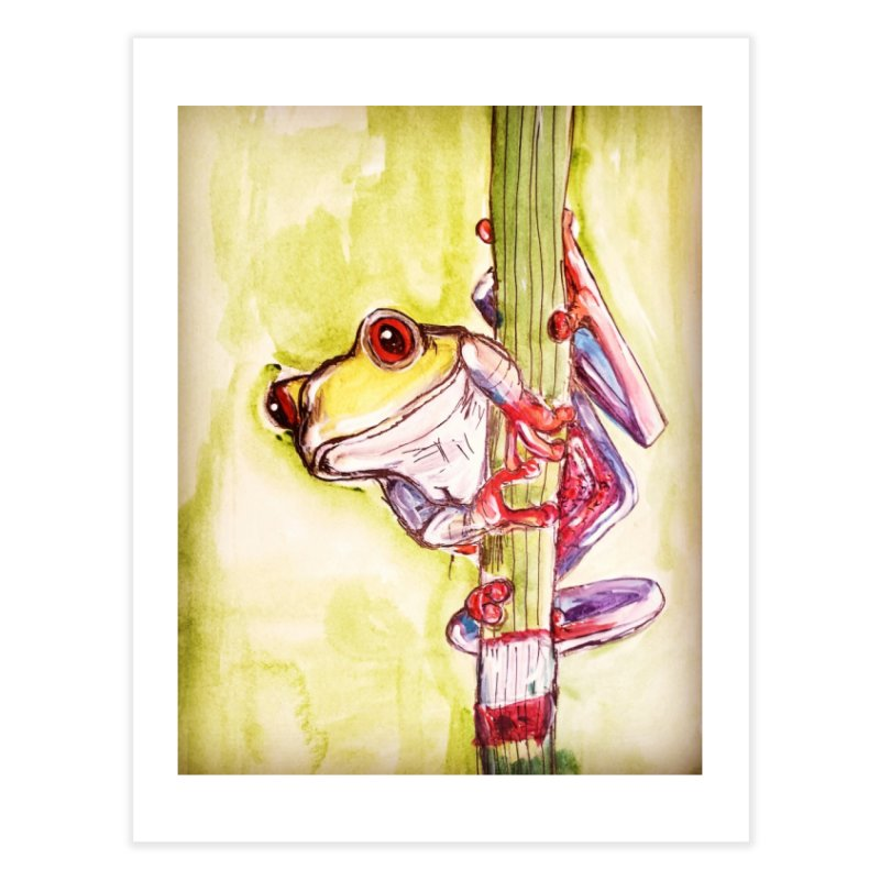 Red-eyed tree frog Home Fine Art Print by AlmaT's Artist Shop