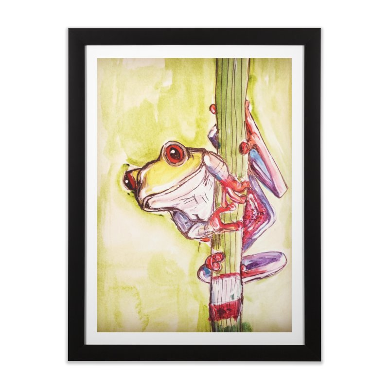 Red-eyed tree frog Home Framed Fine Art Print by AlmaT's Artist Shop