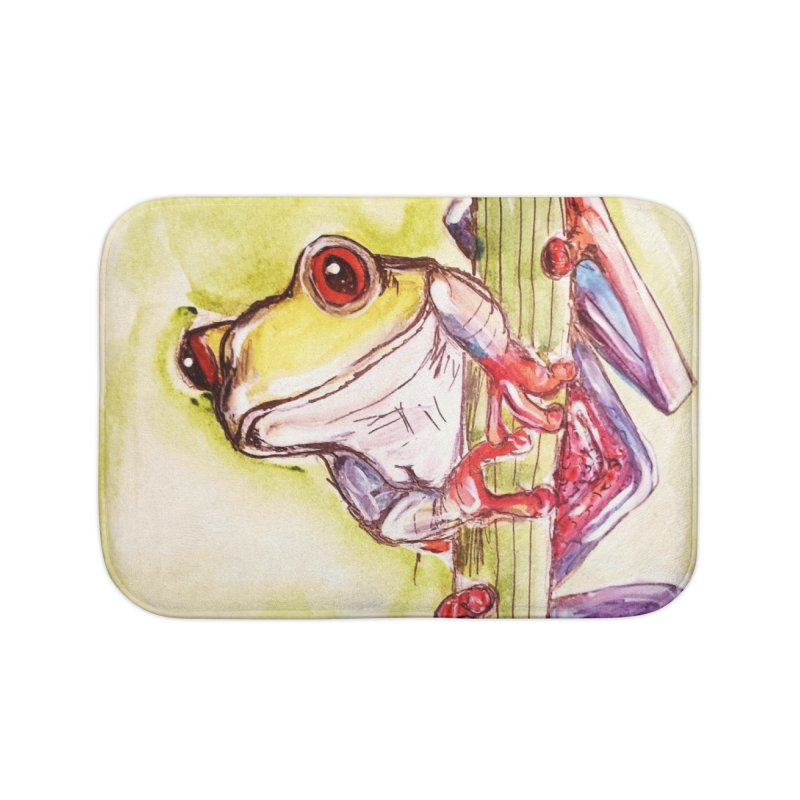 Red-eyed tree frog Home Bath Mat by AlmaT's Artist Shop