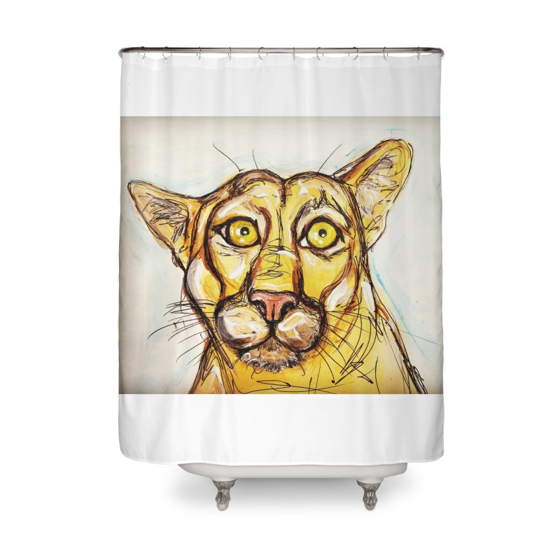Puma Home Shower Curtain by AlmaT's Artist Shop