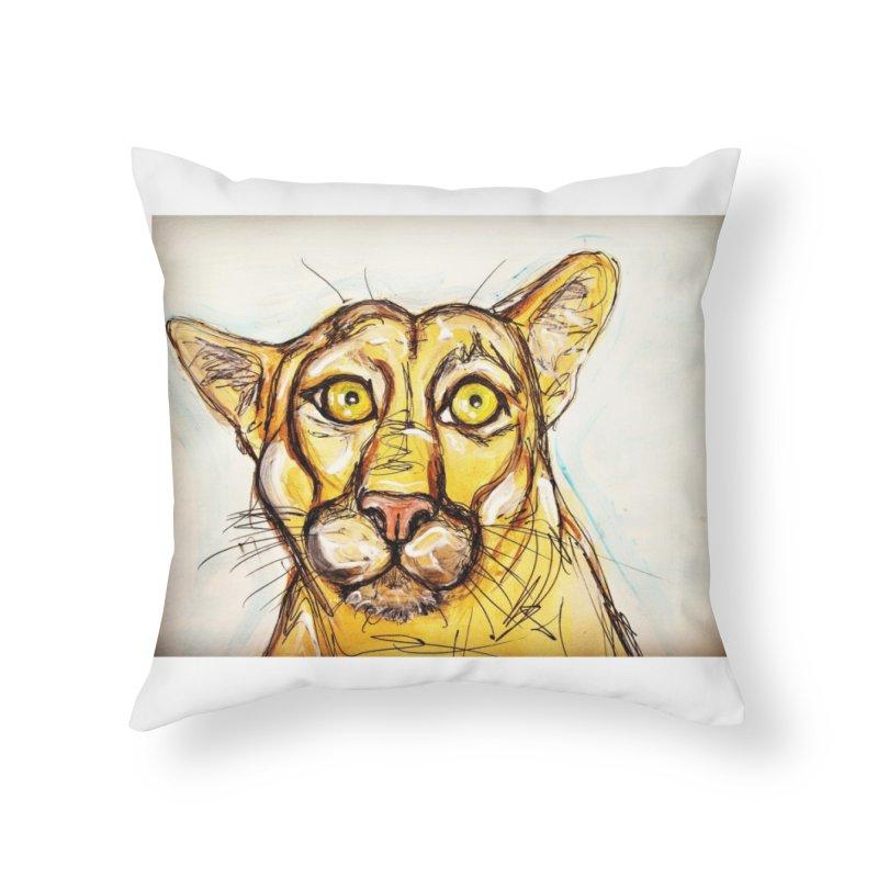 Puma Home Throw Pillow by AlmaT's Artist Shop