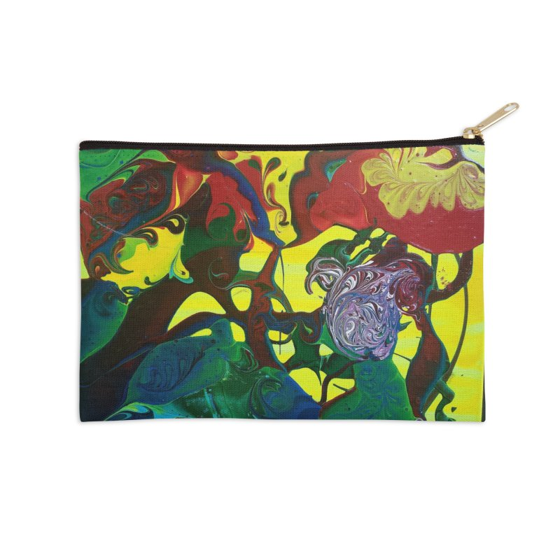 Abstract Flowers Accessories Zip Pouch by AlmaT's Artist Shop