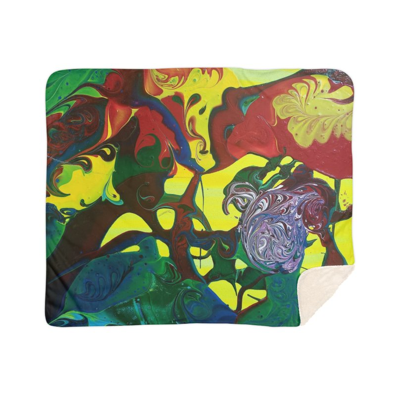 Abstract Flowers Home Sherpa Blanket Blanket by AlmaT's Artist Shop