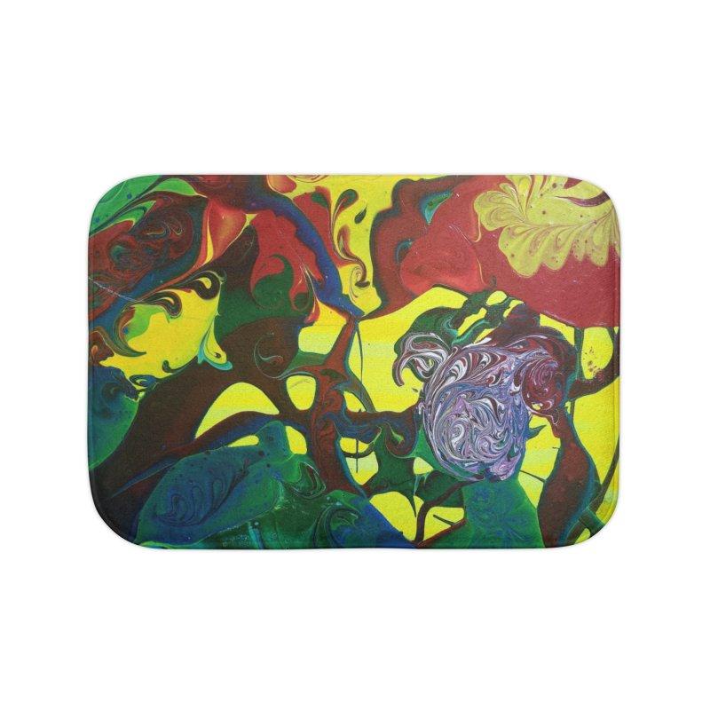 Abstract Flowers Home Bath Mat by AlmaT's Artist Shop