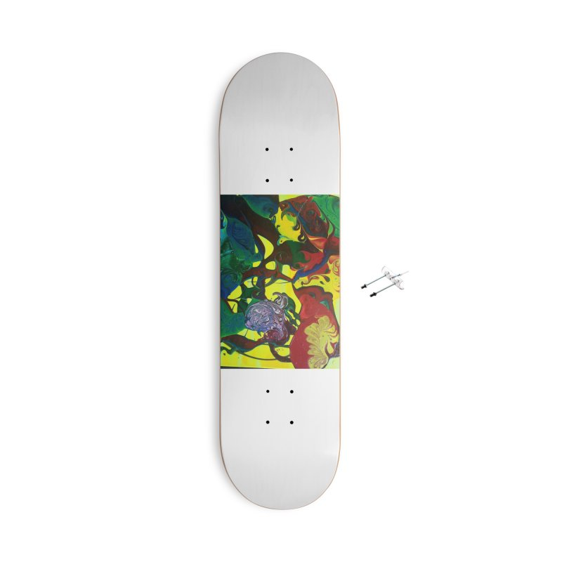 Abstract Flowers Accessories With Hanging Hardware Skateboard by AlmaT's Artist Shop