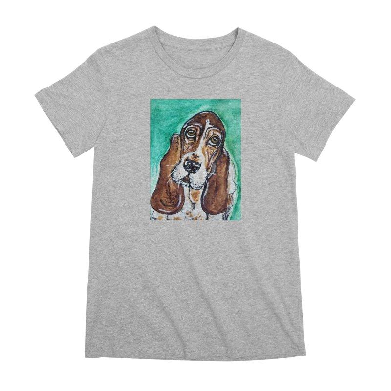 Basset Hound Women's Premium T-Shirt by AlmaT's Artist Shop