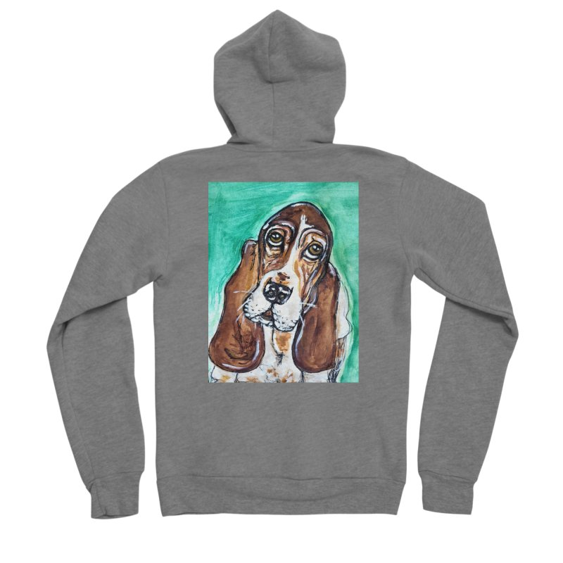 Basset Hound Women's Sponge Fleece Zip-Up Hoody by AlmaT's Artist Shop