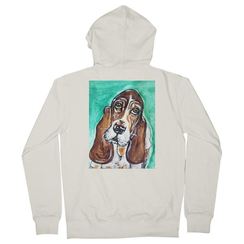 Basset Hound Women's French Terry Zip-Up Hoody by AlmaT's Artist Shop