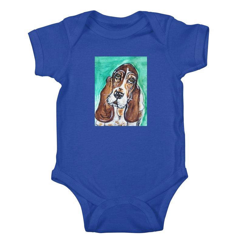 Basset Hound Kids Baby Bodysuit by AlmaT's Artist Shop