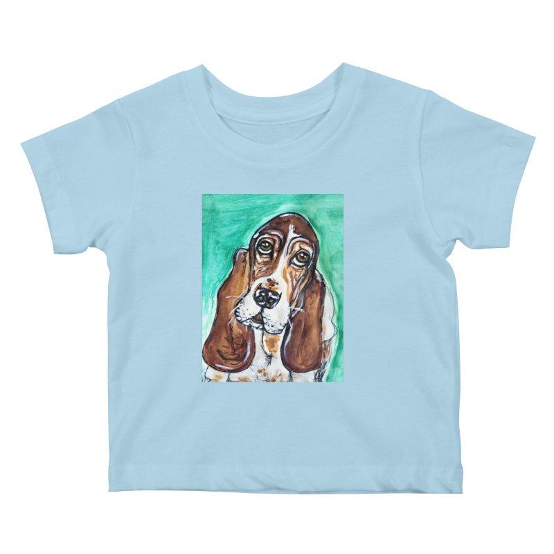 Basset Hound Kids Baby T-Shirt by AlmaT's Artist Shop